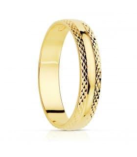 Alianza Verona 4mm Oro Amarillo 18K anillo boda compromiso matrimonio joyeria nupcial grabado