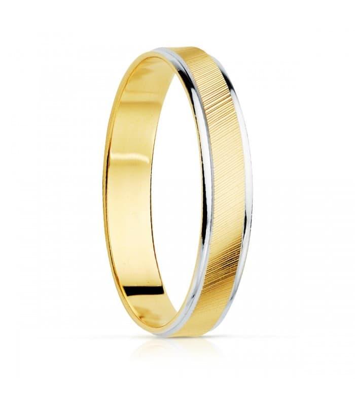 Alianza Palermo 3.5 mm Oro Bicolor 18K joyeria online nupcial anillo boda