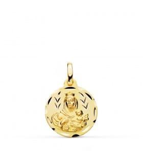 Medalla Virgen del Carmen tallada 16mm colgante oro grabado personalizado joya comunión
