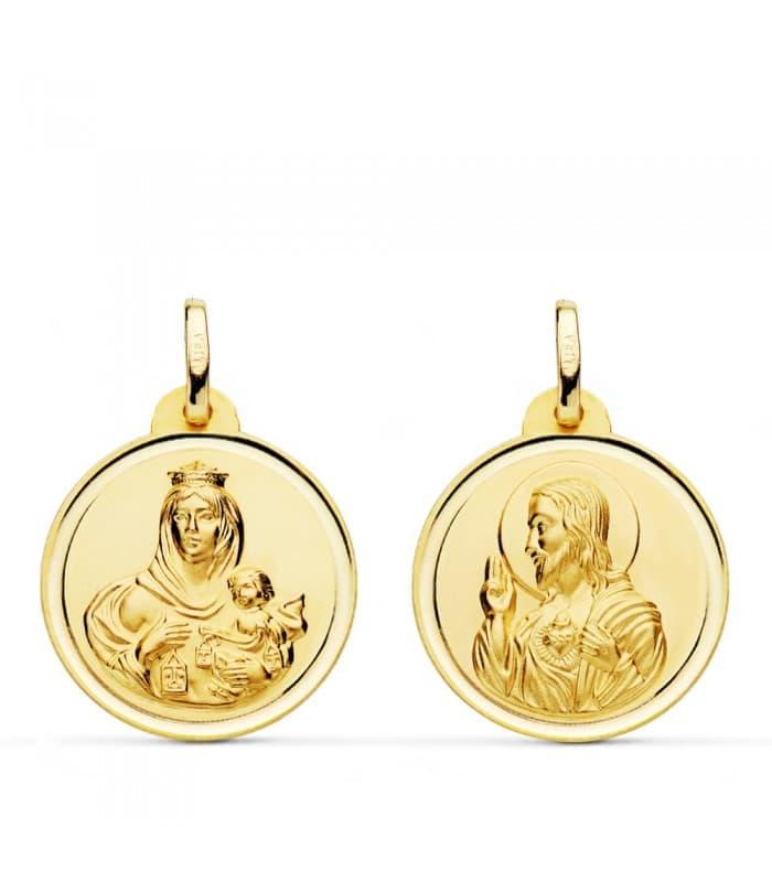 Medalla escapulario Virgen Carmen Corazón de Jesús bisel 20 mm oro 18k