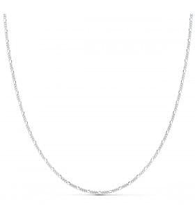 Cadena Fígaro Oro Blanco 18K 1mm 40cm collar mujer