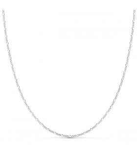 Cadena Fígaro Oro Blanco 18K 1mm 45cm collar mujer joyeria online