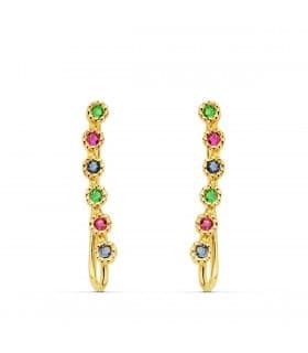 Pendientes Trepadores Arcoiris Oro 18K modernos originales piedras colores gemas multicolor