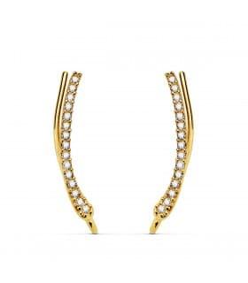 Pendientes Trepadores Arco Oro Amarillo 18K modernos mujer regalo joyeria online piedras