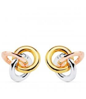 Pendientes Mujer Nudo Oro Tricolor 18K cierre presion joyeria online