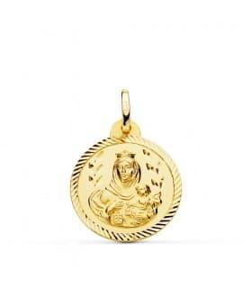 Medalla Virgen Carmen Oro 18K 20mm Hélice joya personalizada grabado inscripción