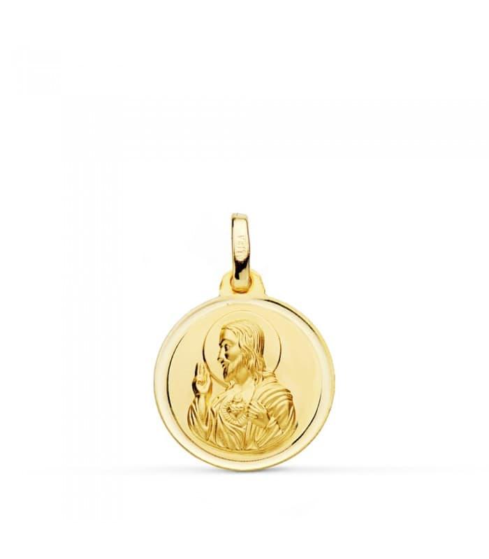 Medalla religiosa Corazón de Jesús bisel 16 mm colgante oro 18k