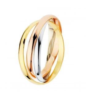 Alianza triple Dozza 2mm Oro tricolor 18K anillo boda compromiso matrimonio