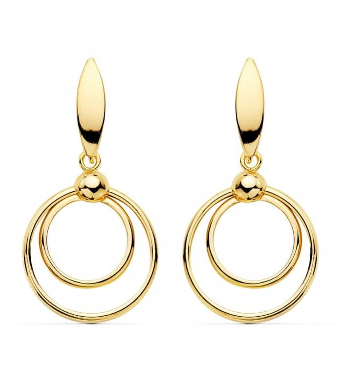 Pendientes Oro Amarillo 18K Double Ring largos aros regalo mujer