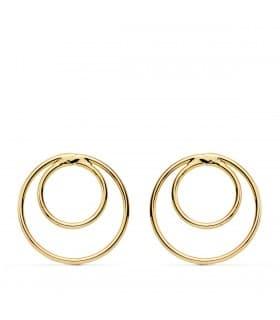 Pendientes Aro Doble Oro Amarillo 18K regalos mujer joyería online estilo sencillo minimal círculo