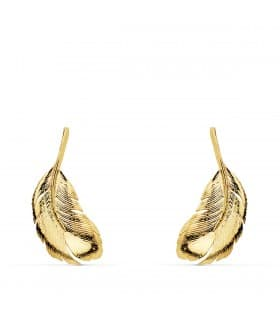 Pendientes Trepadores Pluma Oro Amarillo 18K joyas accesorios modernos de mujer