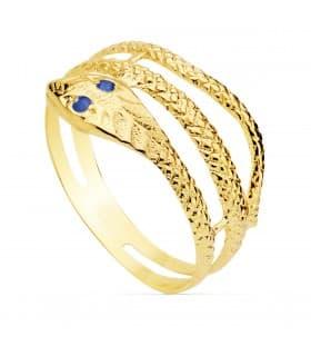 Sortija mujer Serpiente Oro Amarillo 18K Zafiro