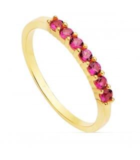 Sortija mujer Seven Fucsia Oro Amarillo 18K anillo piedras colores arcoiris