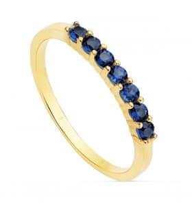 Sortija mujer Seven Navy Oro Amarillo 18K anillo piedras colores gemas arcoiris