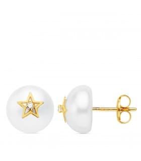 Pendientes De Niña Oro 18k Pearl & Heart 7.5mm