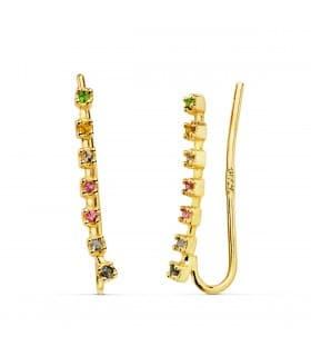 Pendientes Trepadores Oro 18K regalo joyeria mujer casual minimal piedras colores arcoiris