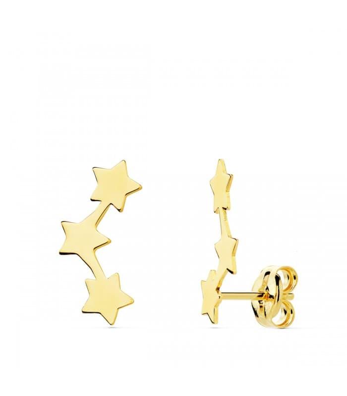 Pendientes Trepadores Oro 18K Mini Estrellas joyeria mujer online