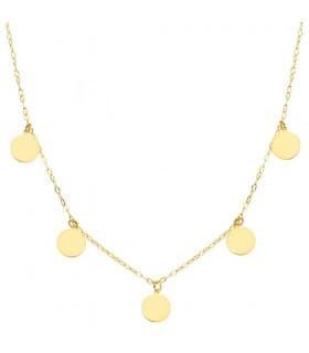 Gargantilla Mujer Chapitas Oro 18K collar mujer colgantes círculos joyería