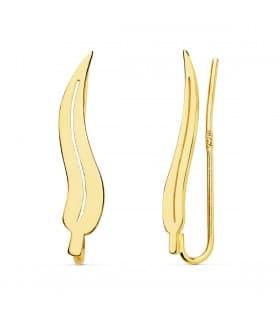 Pendientes Trepadores Hoja Eucalipto Oro amarillo 18K joyería online regalo mujer
