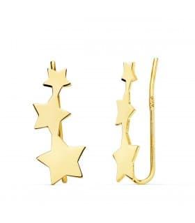 Pendientes Trepadores 3 Estrellitas Oro 18K joyería online regalo mujer