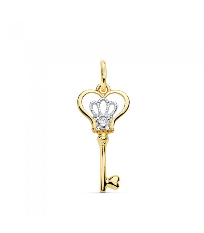Colgante Charm Llave Amulette Collection Oro Bicolor 18 K 18 MM