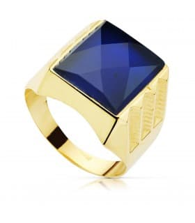 Sello Caballero Oro Amarillo 18K Luigi Espinela Azul