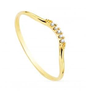 Anillo Monroe Oro Amarillo 18K Diamantes 0.035 Qts.