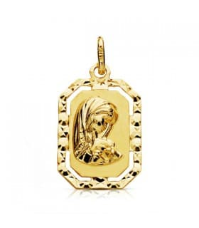 Medalla Virgen Niña Oro 18K Octogonal