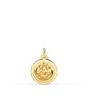 Medalla Bautismo Cristiano Oro 18k 12mm Bisel