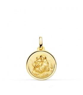 Medalla San Antonio Oro 18K 16mm Bisel