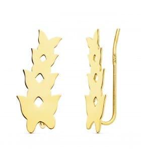 Pendientes Trepadores Oro 18K Cuatro Mariposas