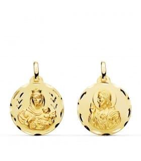 Medalla religiosa escapulario V. Carmen/Corazón de Jesús tallado 18 mm