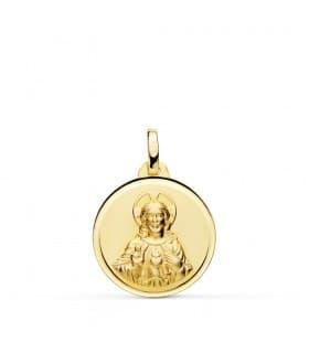 Medalla Corazón de Jesús Bisel Oro amarillo 18k 18mm