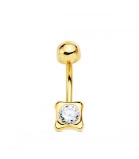 Piercing Ombligo Oro 18K Chatón cuadrado