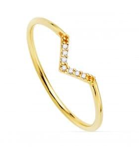 Anillo Streisand Oro Amarillo 18K Diamantes 0.055 Qts.