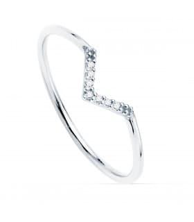 Anillo Streisand Oro Blanco 18K Diamantes 0.055 Qts.