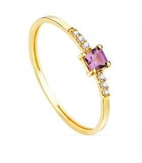 Anillo Streep Oro 18K Diamantes 0.030 Qts. Amatista