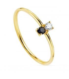 Anillo Portman Oro 18K Diamantes 0.050 Qts. Zafiro
