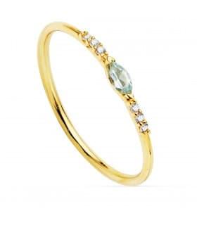 Anillo Bergman Oro 18K Diamantes 0.030 Qts. Aguamarina