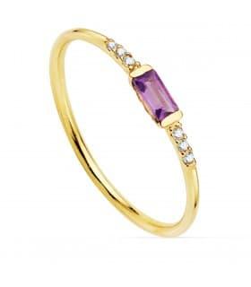 Anillo Gardner Oro 18K Diamantes 0.030 Qts. Amatista