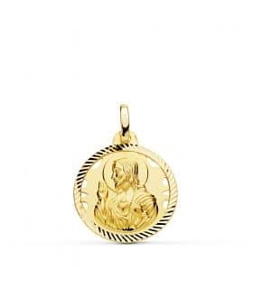 Medalla Corazón de Jesús Oro 18K 18 mm Calada