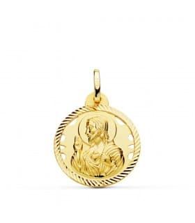 Medalla Corazón de Jesús Oro 18K 20 mm Calada