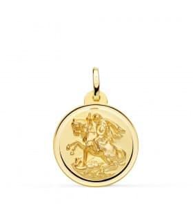 Medalla San Jorge Oro 18K 20mm Bisel