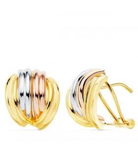 Pendientes Bandas Oro Tricolor 18K 13mm