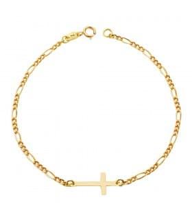 Pulsera de mujer oro 18 kilates cruz cadena eslabones figaro