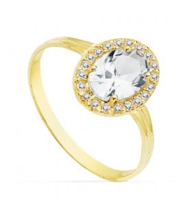 Sortija oro amarillo Alessia Oval 18 Kte anillo mujer