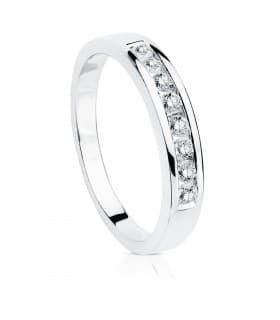 Alianza Oro Blanco 18K Diamantes 0.240 Qts.