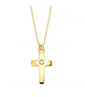 Gargantilla Cruz Diamante 0.015 Qt. Oro 18K
