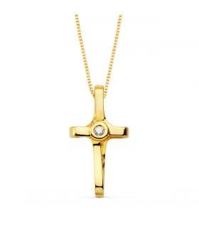 Gargantilla Cruz Oro 18K Diamante 0.015 Qt.